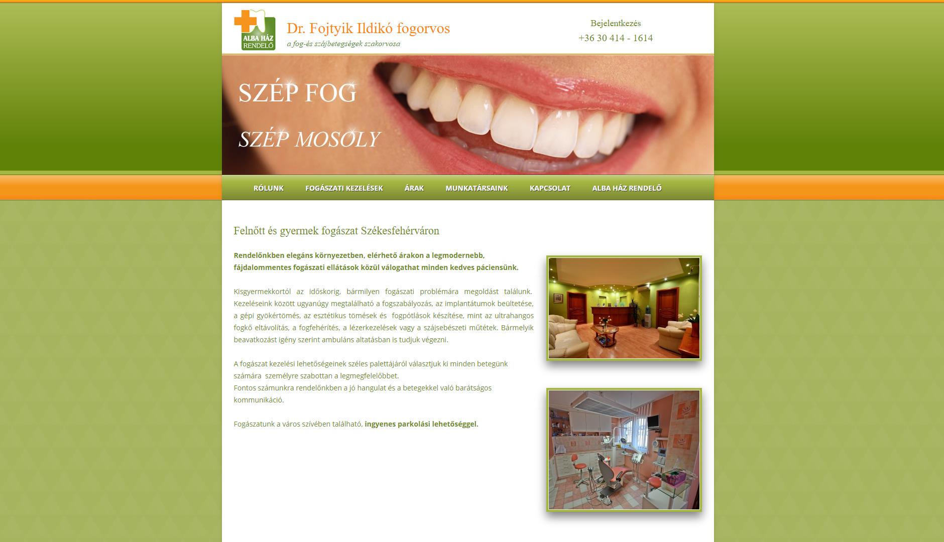 Alba Ház fogászati rendelő weboldala