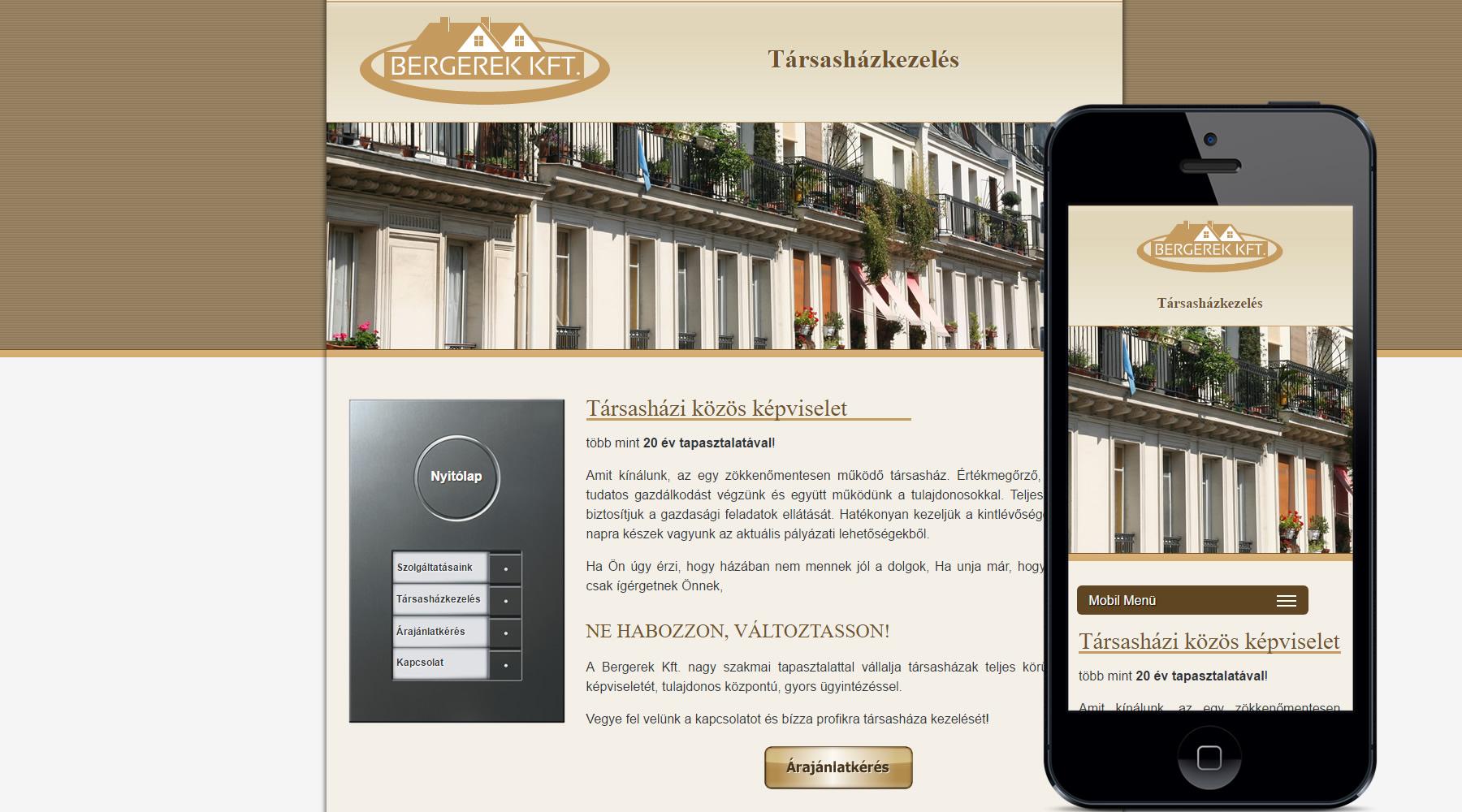 Bergerek kft mobilbarát weboldal