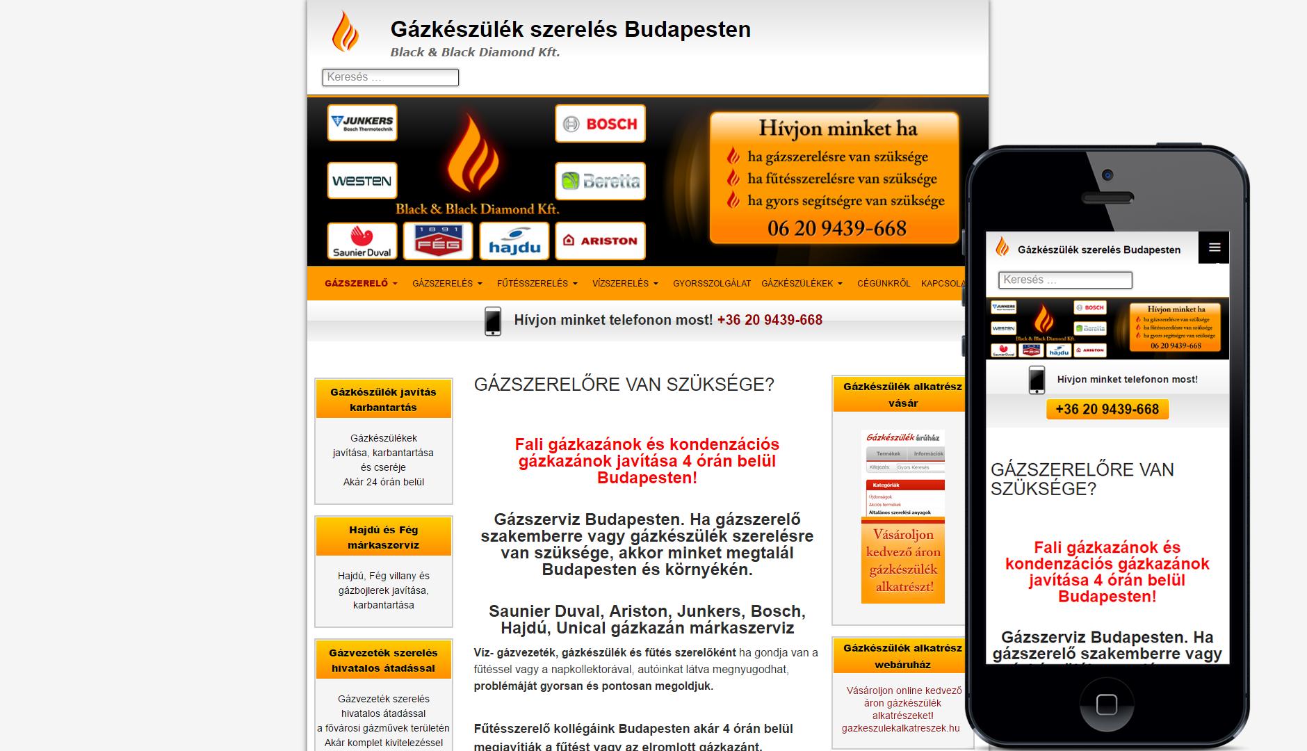 bpgazszerelő reszponzív weboldal azonnali hívás gombbal