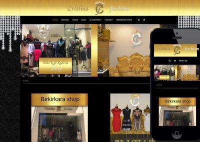 A cristinafashion mobilbarát weboldala