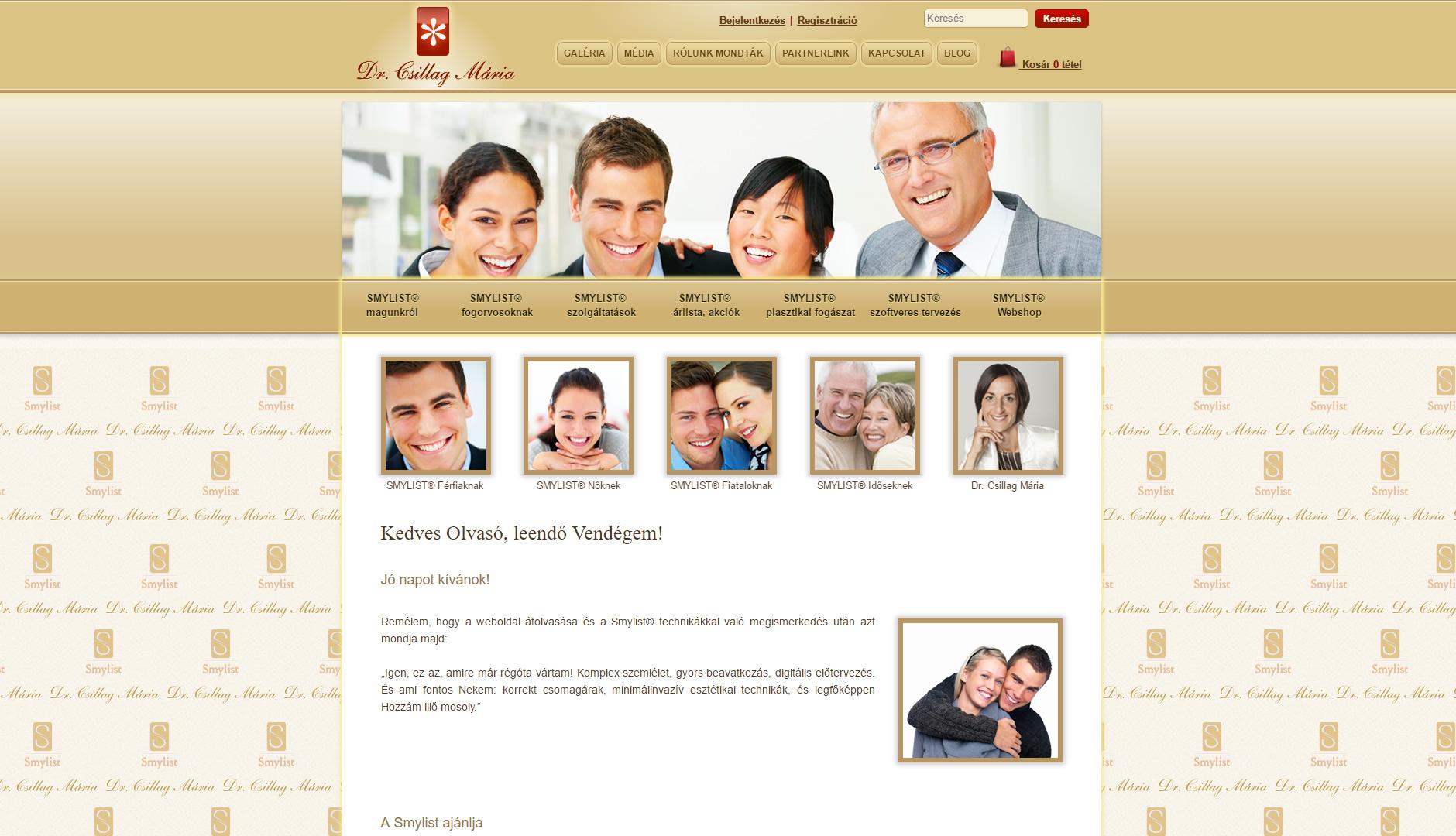 Dr. Csillag Mária fogorvos weboldala