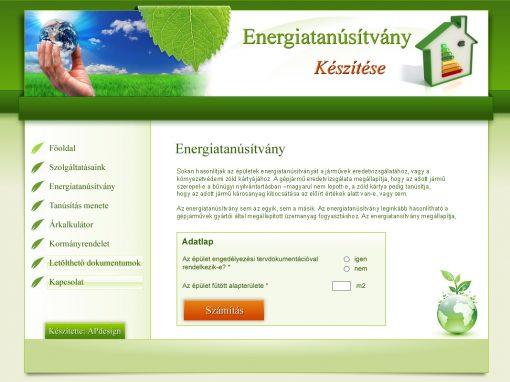Energiatanúsítvány weboldala