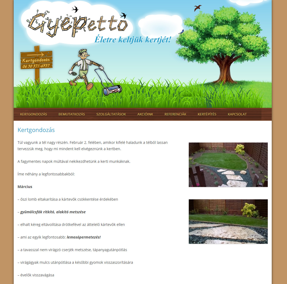 Gyepetto kertgondozás weboldala