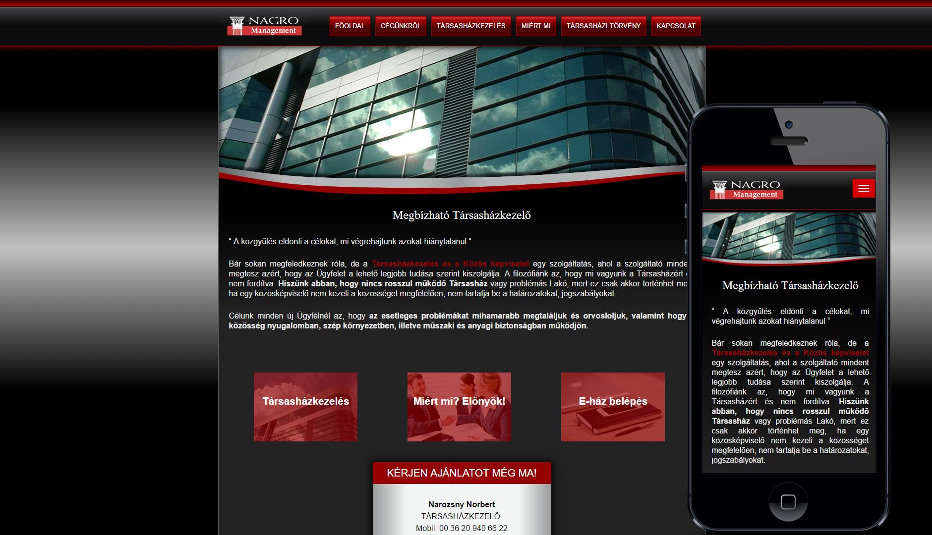 Norbert közös kepviselő mobilbarát weboldala