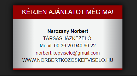 Norbert közös képviselő webnévjegy