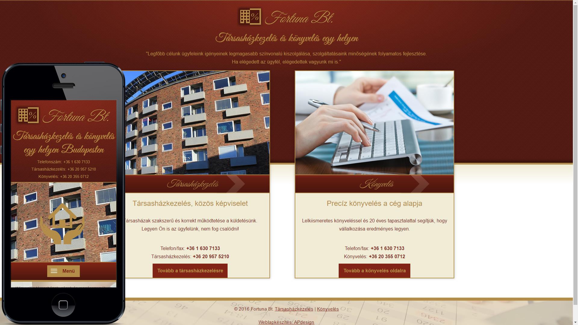 mobilbarát weboldal készítés, responsive weboldal készítés a társasházkezelő könyvelő részére