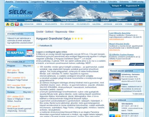 Síelők.hu webportál tervezés