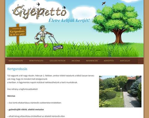 Kertgondozás gyepetto wordpress weboldal készítés