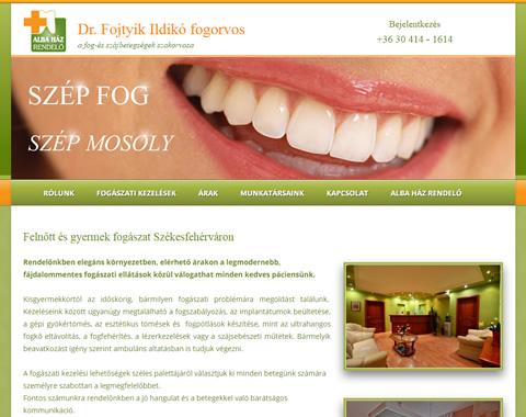 Alba Ház Fogászat weboldal készítés