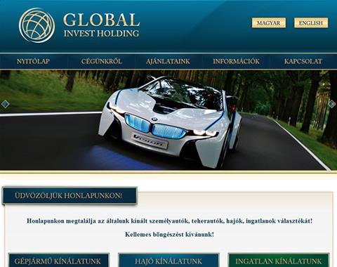 Global Invest Holding weboldala