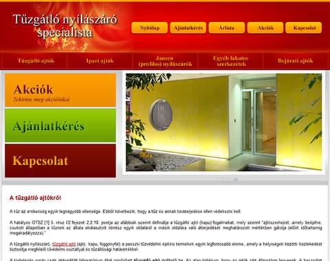 Tűzgátlóajtók weboldala