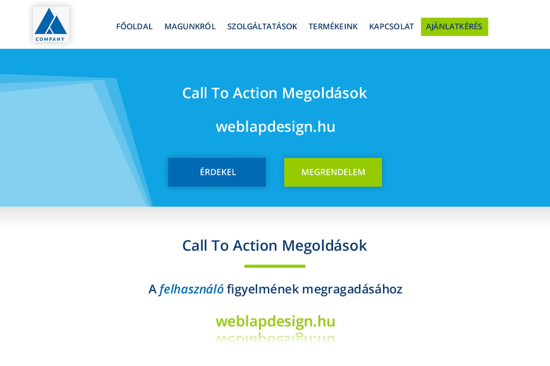 CTA call to action header weboldal fejléc