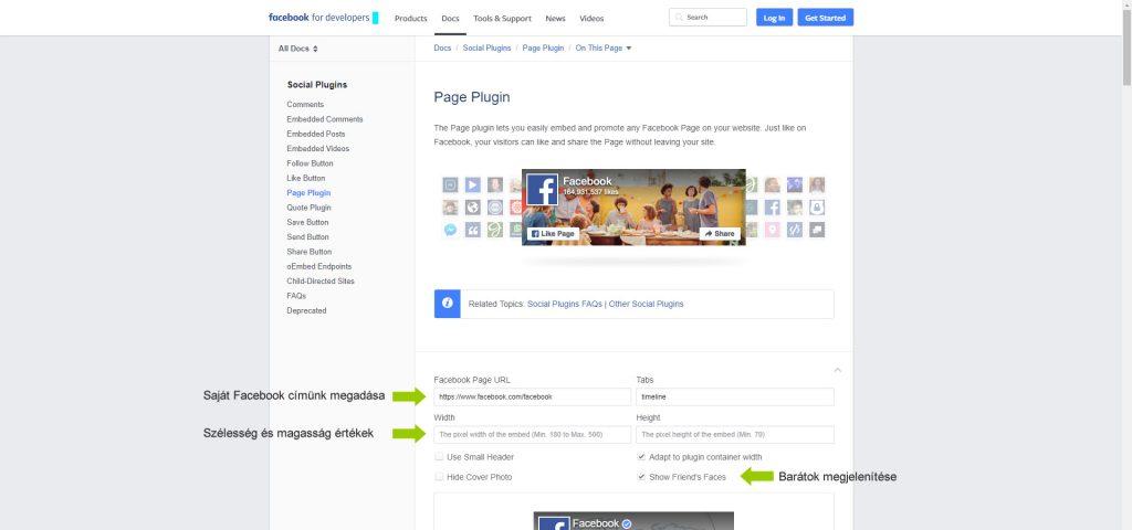 Facebook like box létrehozása