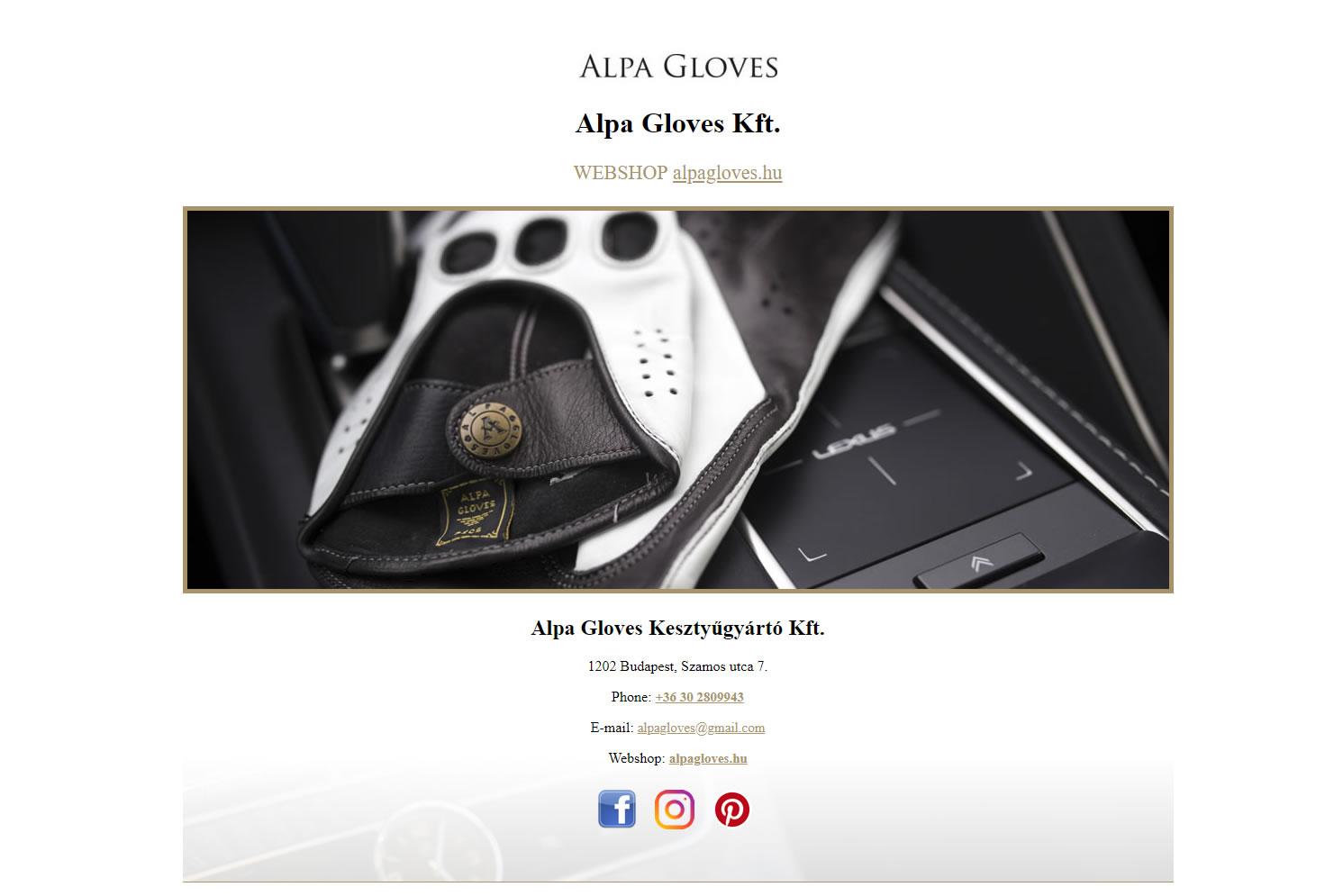 Alpa Gloves landingoldal