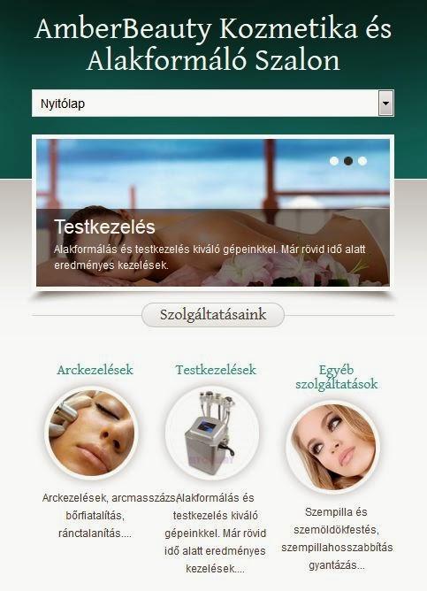kozmetikai weboldal mobil nézetben