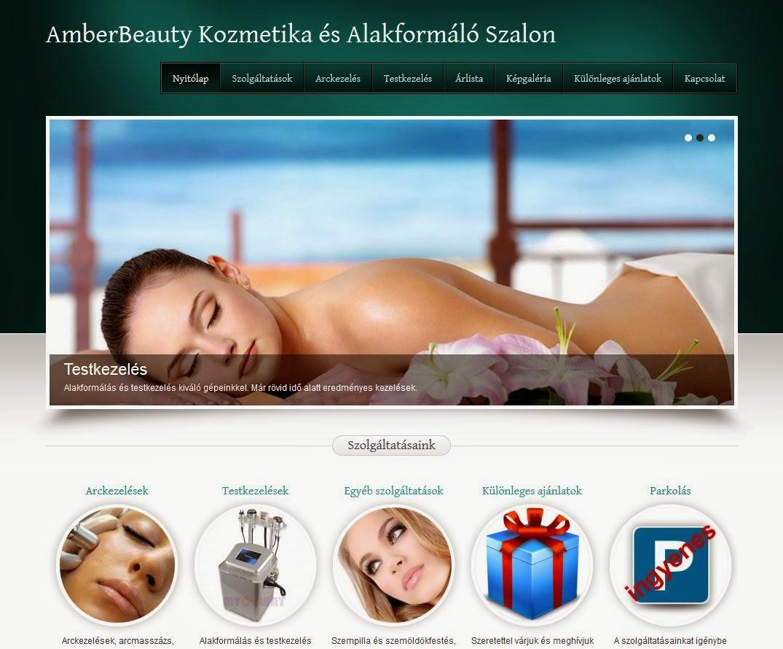 kozmetikai weboldal asztali nézetben