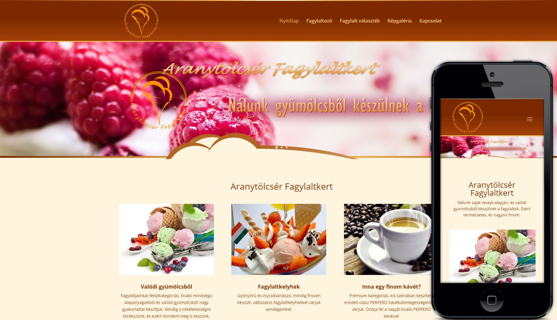 Weboldal készítés az Aranytölcsér fagylaltozónak