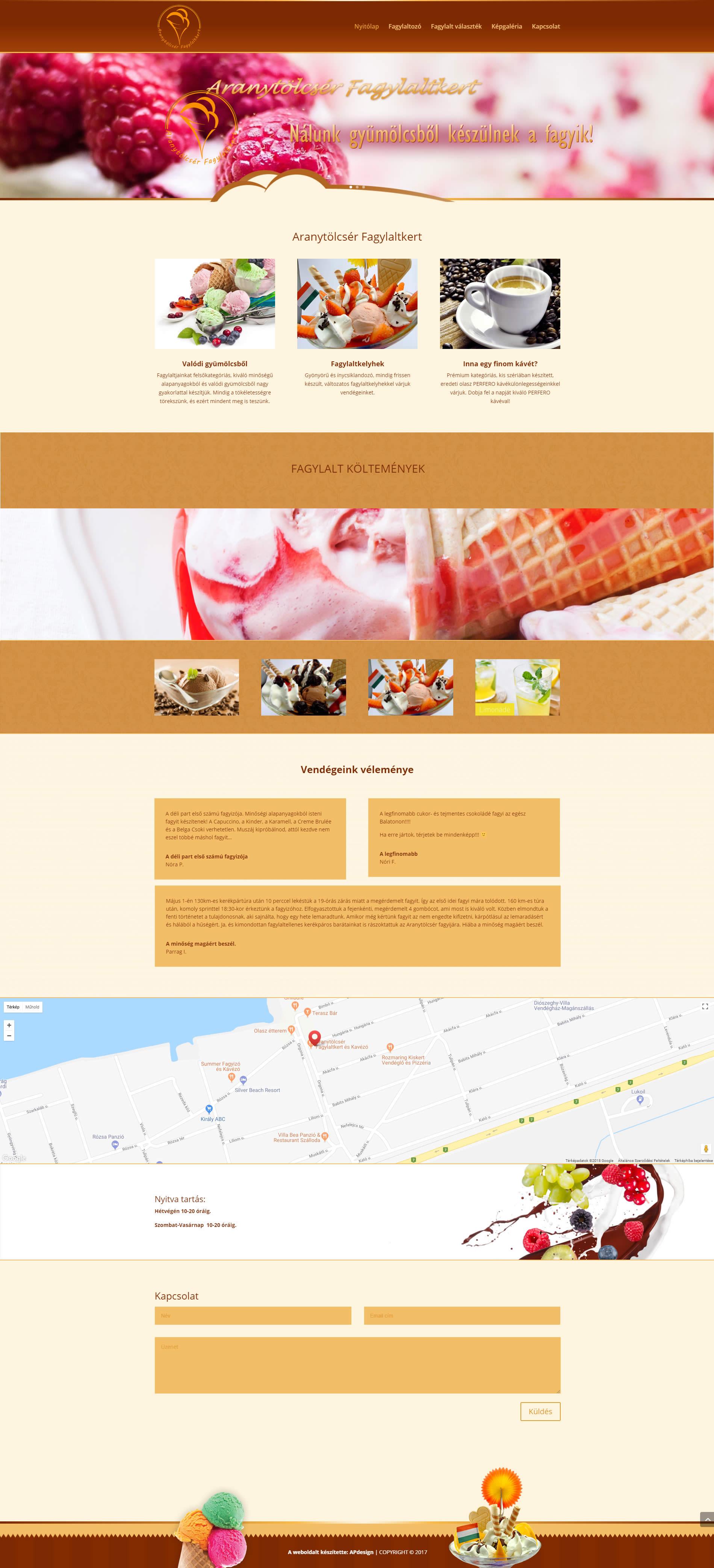 Weboldal készítés az Aranytölcsér fagylaltozó részére
