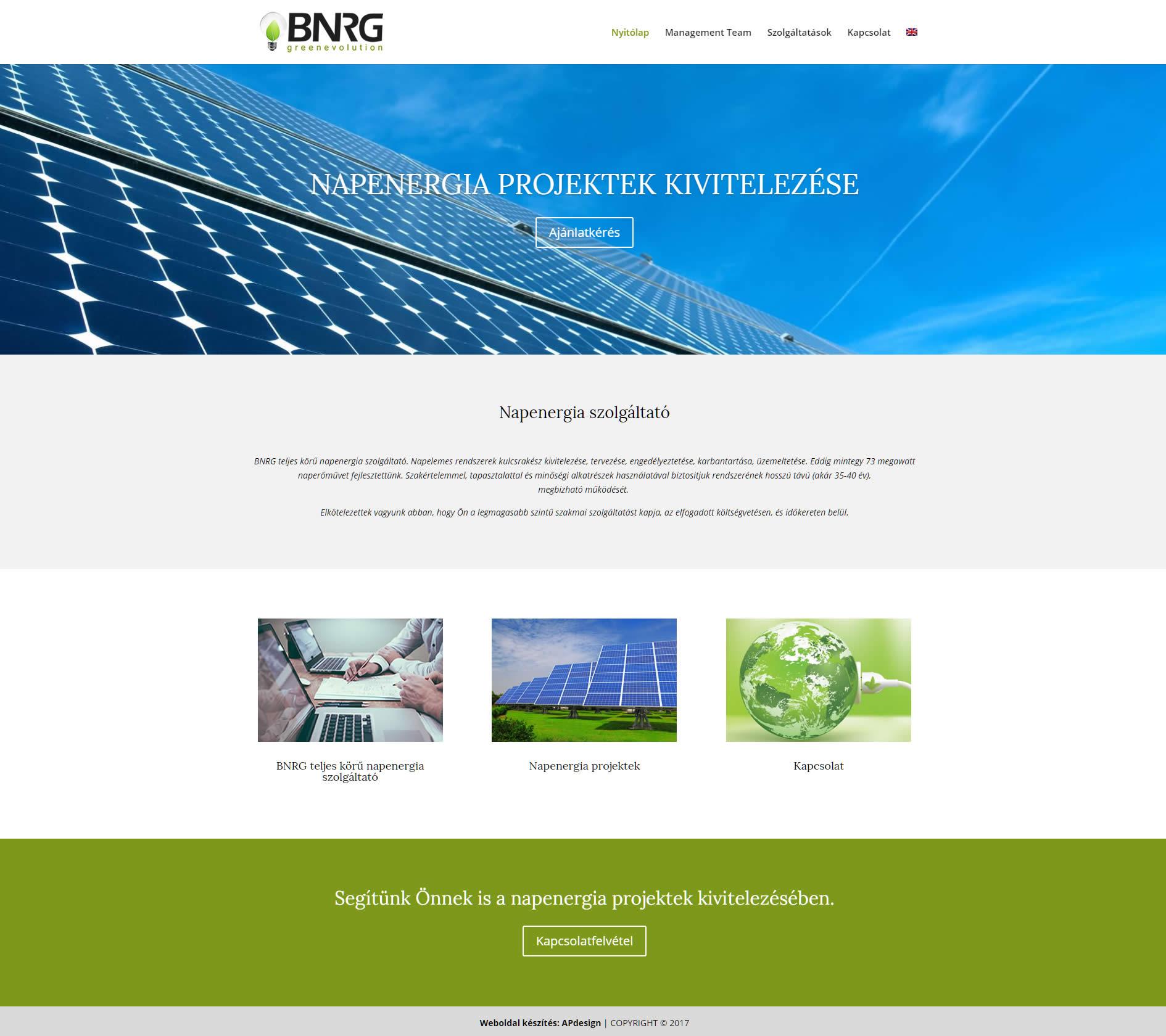 bnrg napenergia szolgáltató weboldala