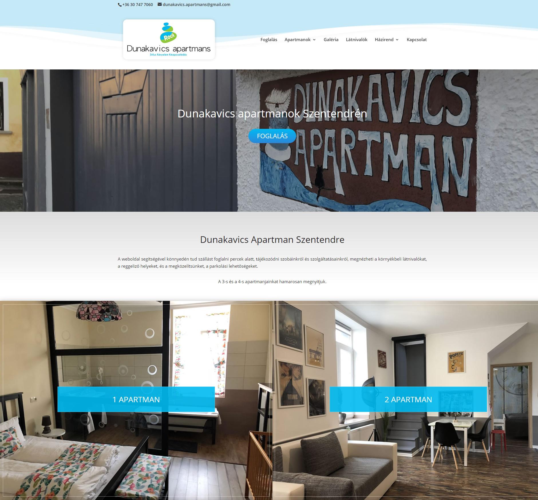Dunakavics apartmanok Szentendre weboldal készítés