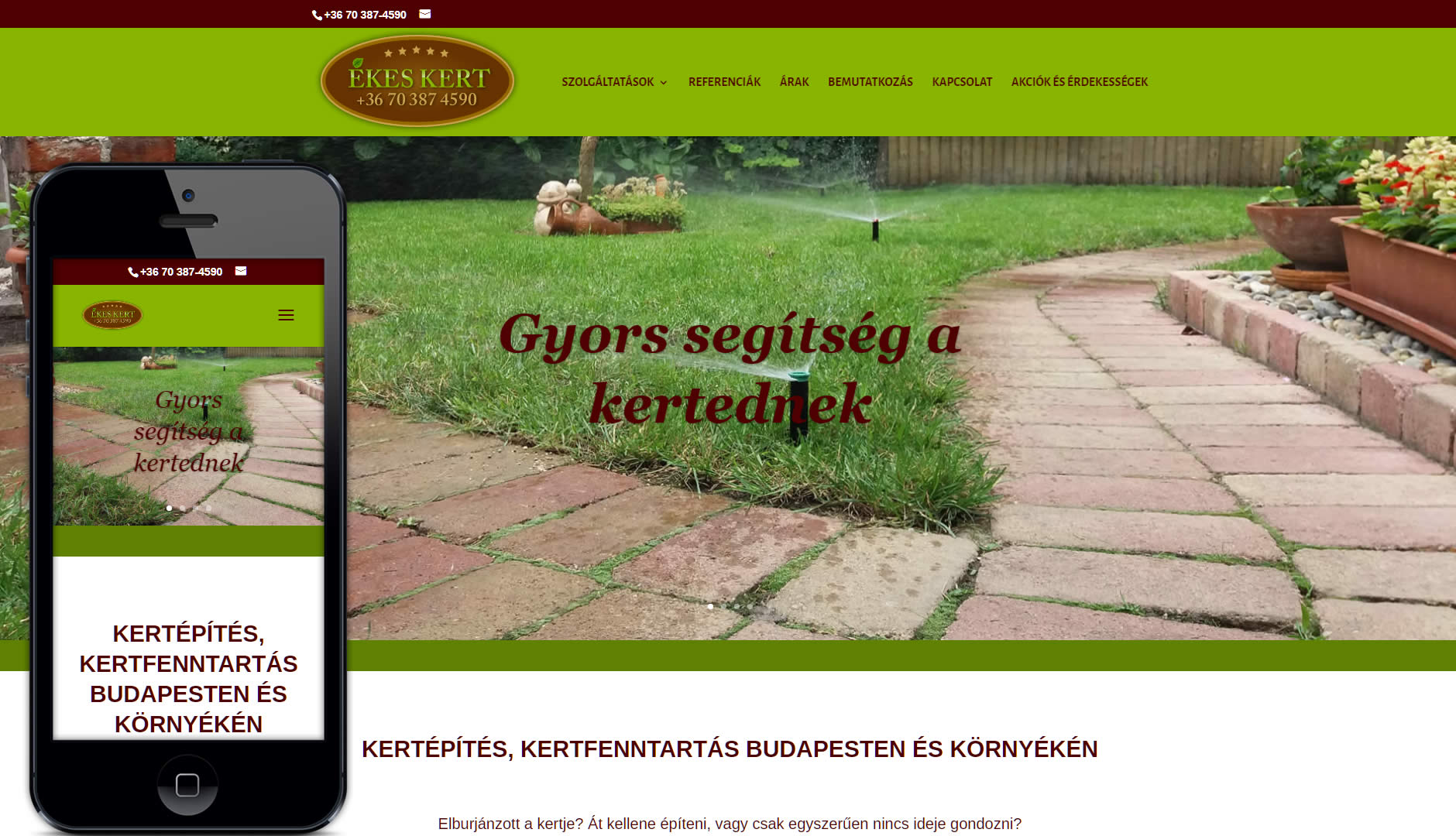 Weboldal készítés az Ékeskert kertépítés és kertfenntartás részére