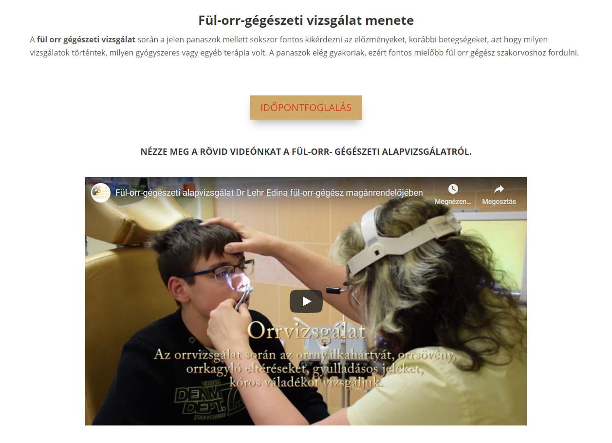 fül-orr-gégészeti vizsgálat oldalon Youtube video is megjelenik