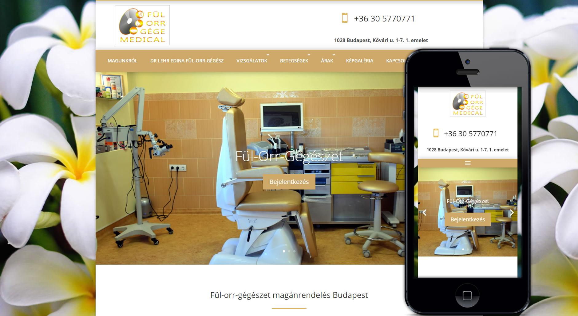 Fül-orr-gégészeti weboldal megújítás, új weboldal készítése