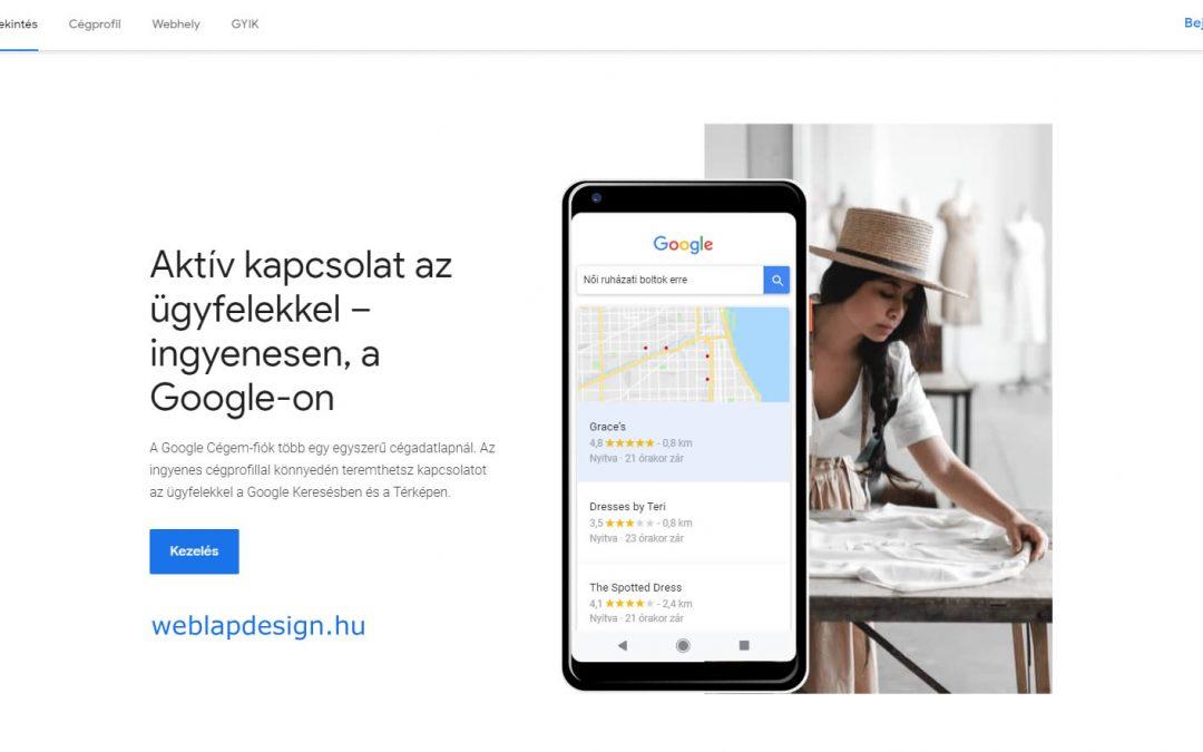 Google cégem regisztráció