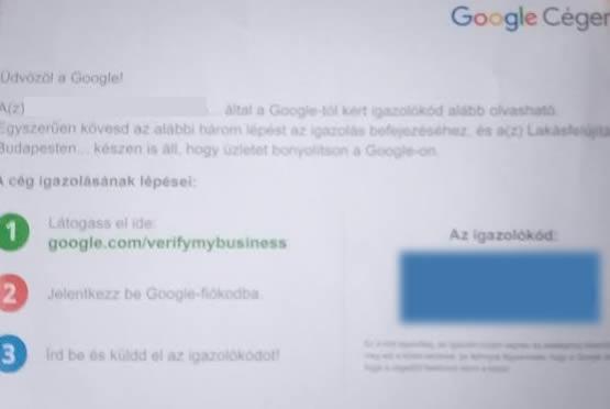 Google cégem igazoló kód