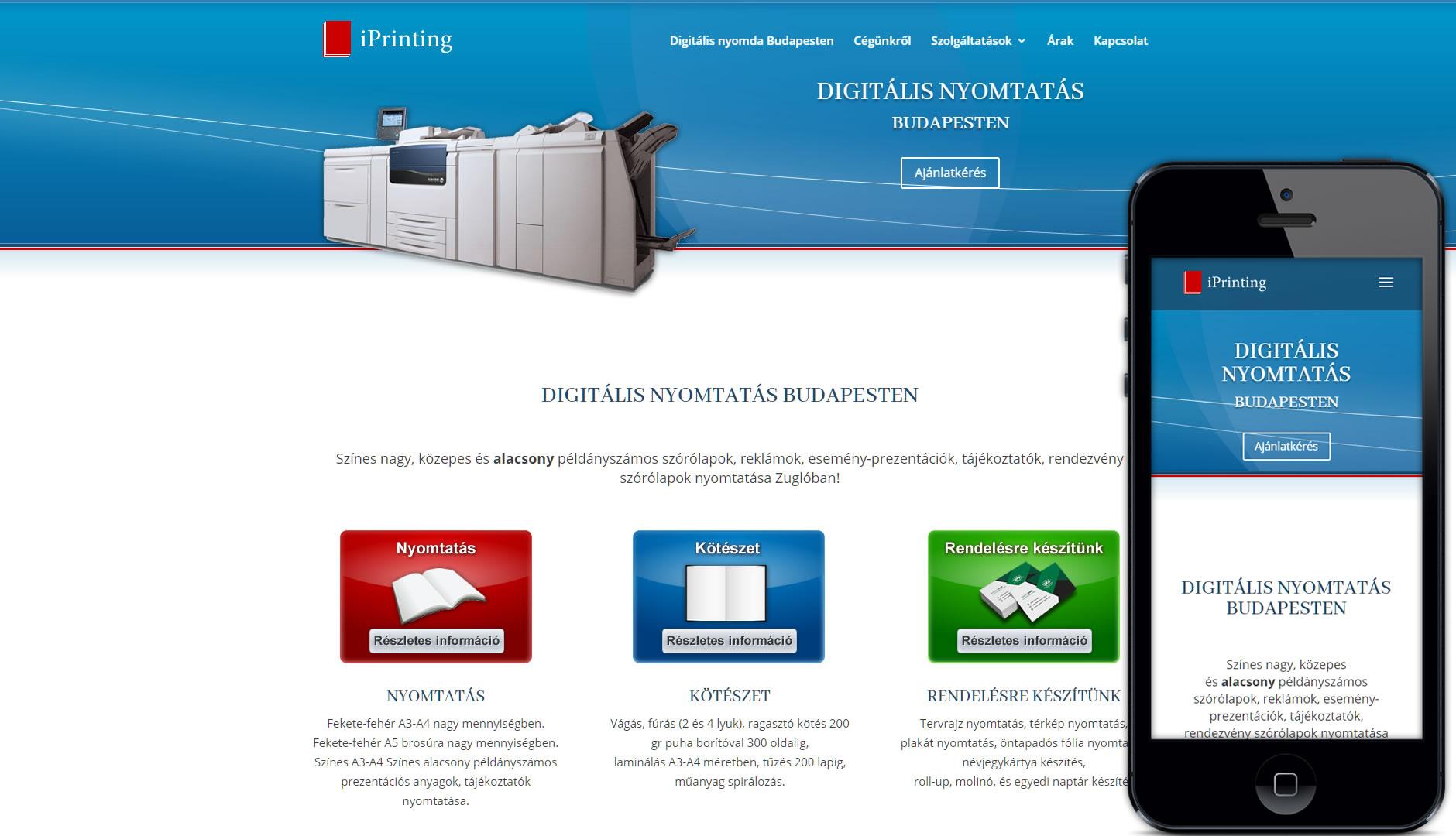 iPrinting keresőoptimalizálás digitális nyomda, zugló és Budapest szavakra