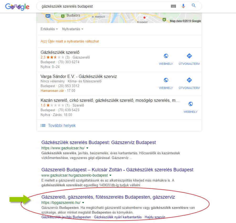 gázszerelő keresőoptimalizálás Google első oldal