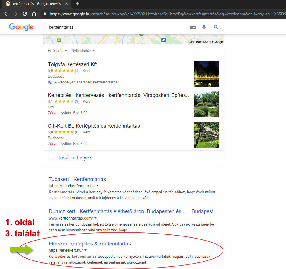 Google első és második hely kertfenntartás