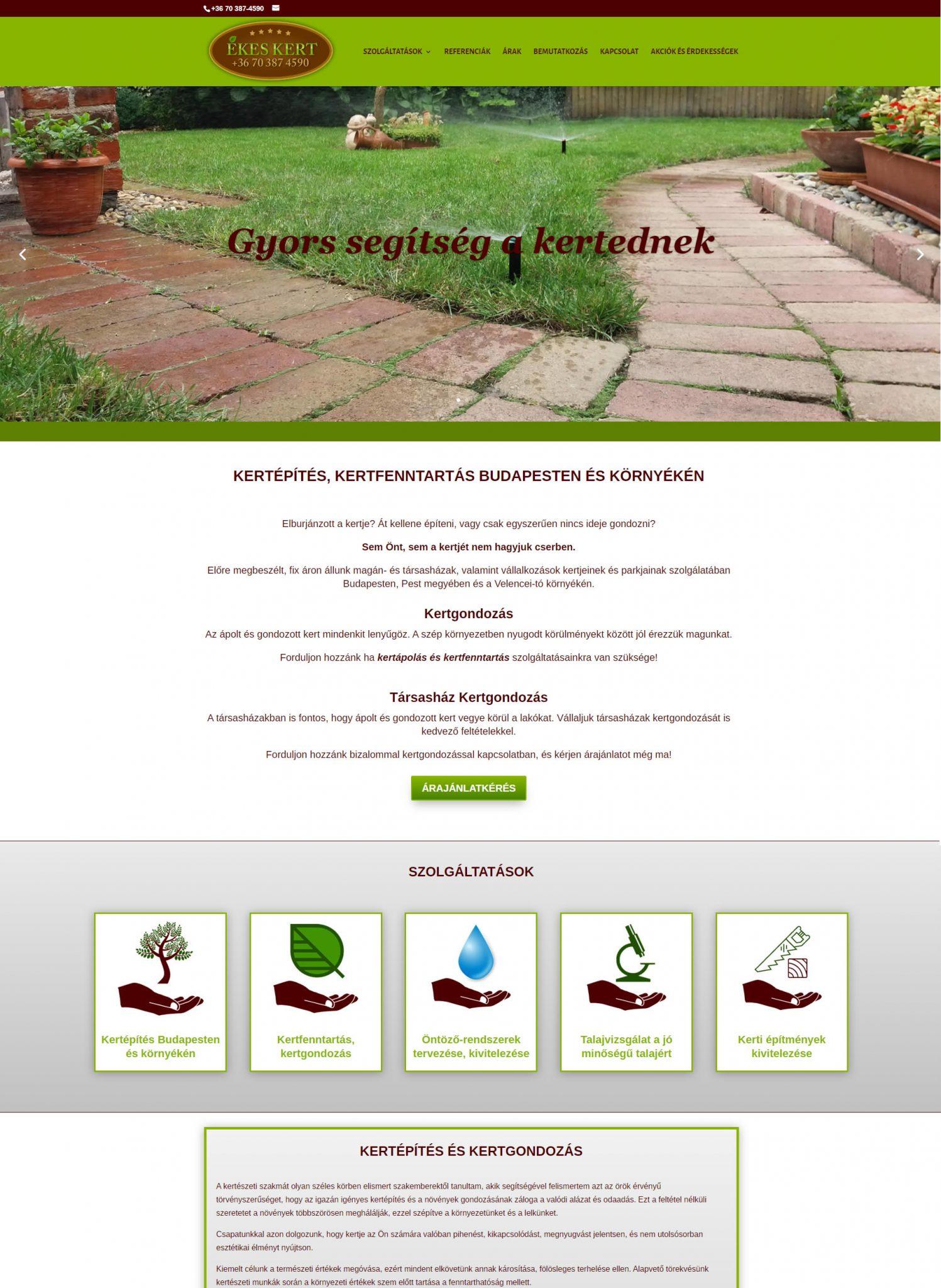 ékeskert weboldal keresőoptimalizálása