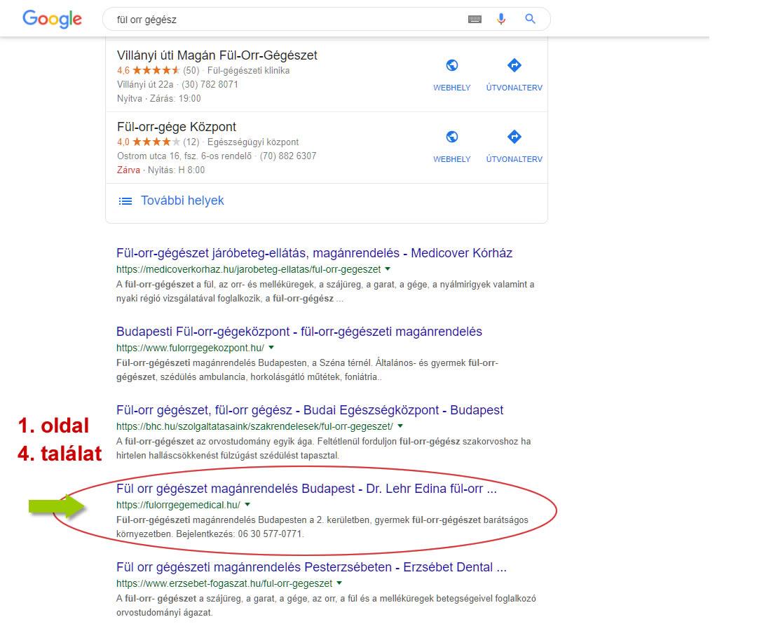 keresőoptimalizálás fulorrgegemedical.hu Google fül orr gégészet első oldal negyedik találat