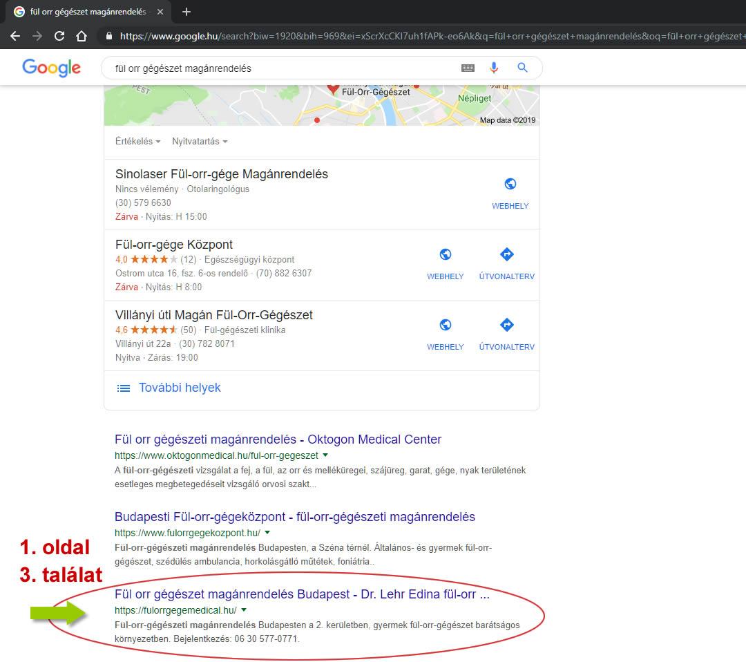 keresőoptimalizálás fül orr gégemedical Google fül orr gégészet magánrendelés első oldal harmadik találat