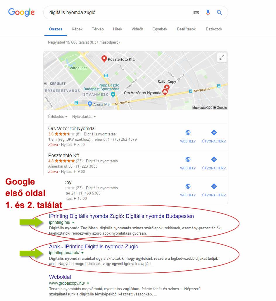 keresőoptimalizálás iprinting digitalis nyomda zugló google első és második hely