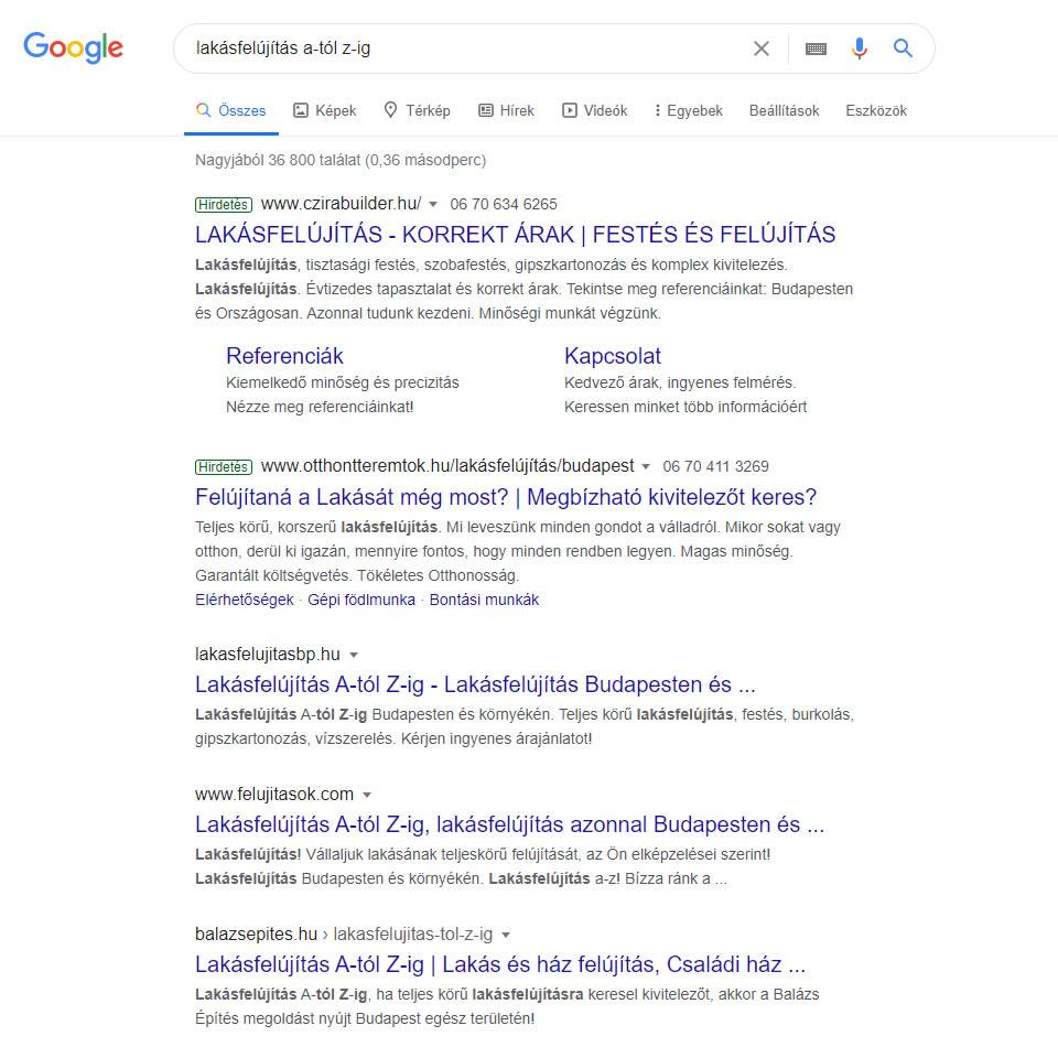 keresőoptimalizálás lakásfelújítás a-tól z-ig Google első oldal első találat