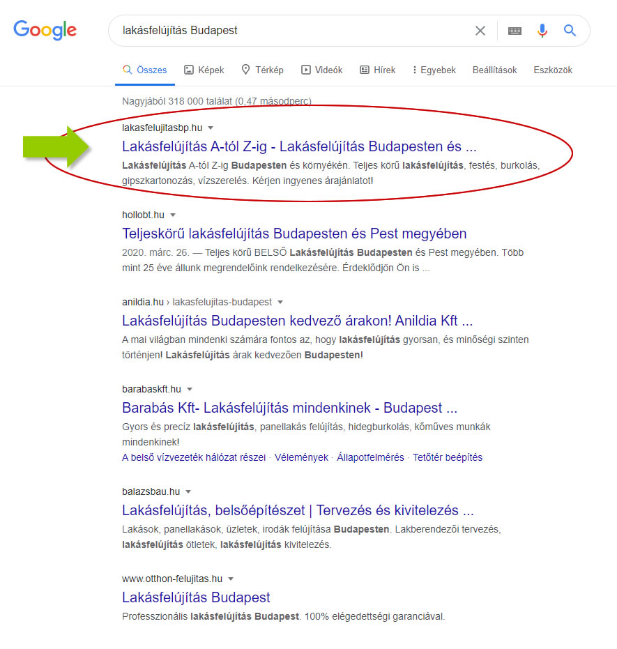 keresőoptimalizálás lakásfelújítás Budapest Google első oldal első találat