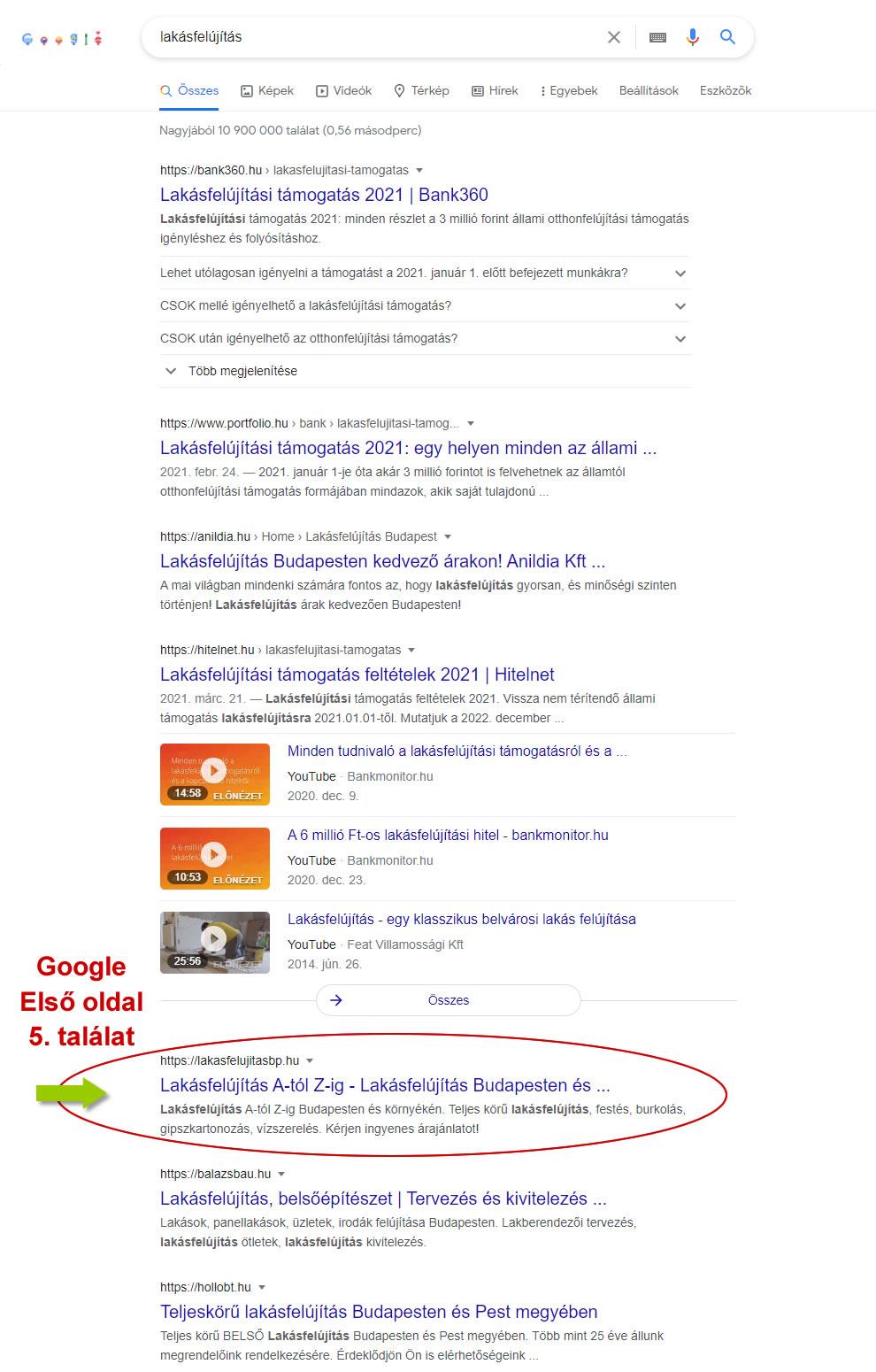 Keresőoptimalizálás eredménye lakásfelújítás keresésre a weboldal a Google első oldalán az 5. helyen jelenik meg