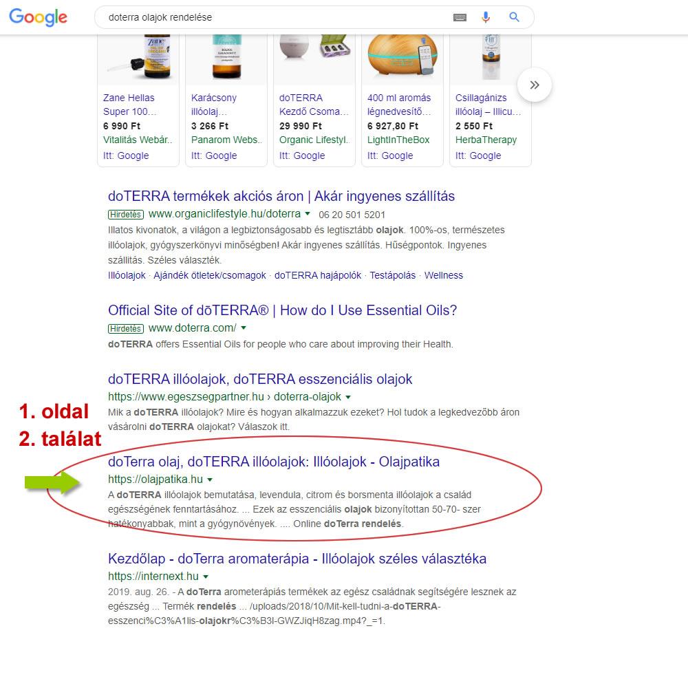 keresőoptimalizálás olajpatika google első oldal második találat doterra olajok rendelés