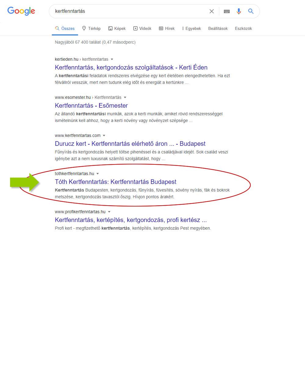 keresőoptimalizálás kertfenntartás kulcsszóra a Google első oldalán a negyedik találat a Tóth Kertfenntartsá honlapja