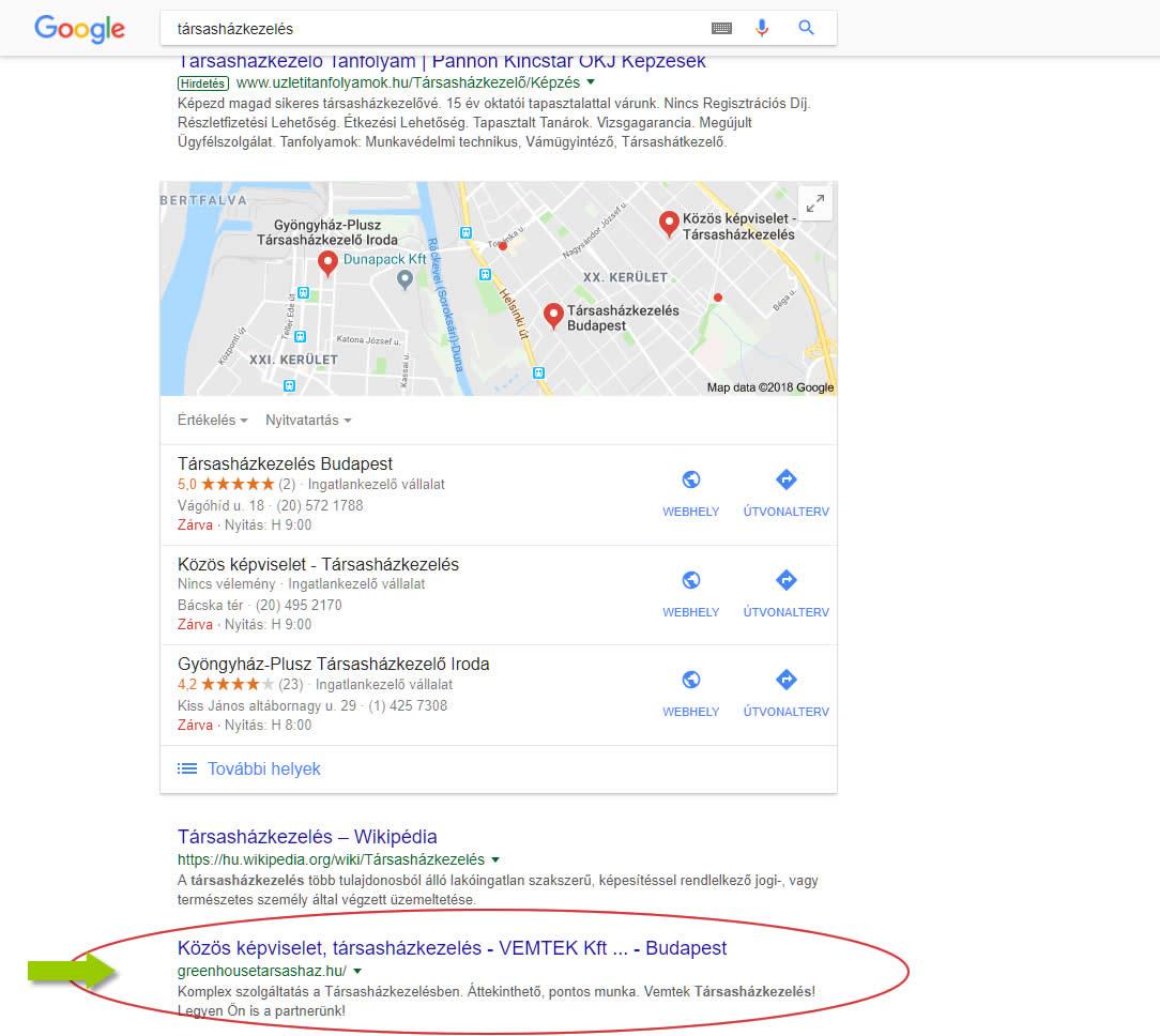 Google első második hely társasházkezelés szóra