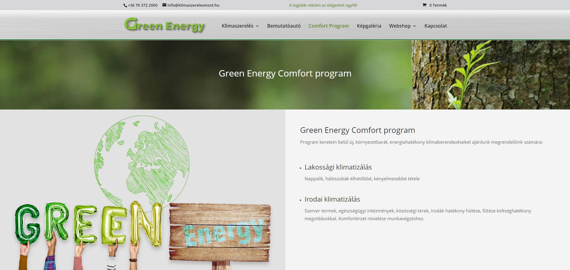 klímaszerelés comfort program