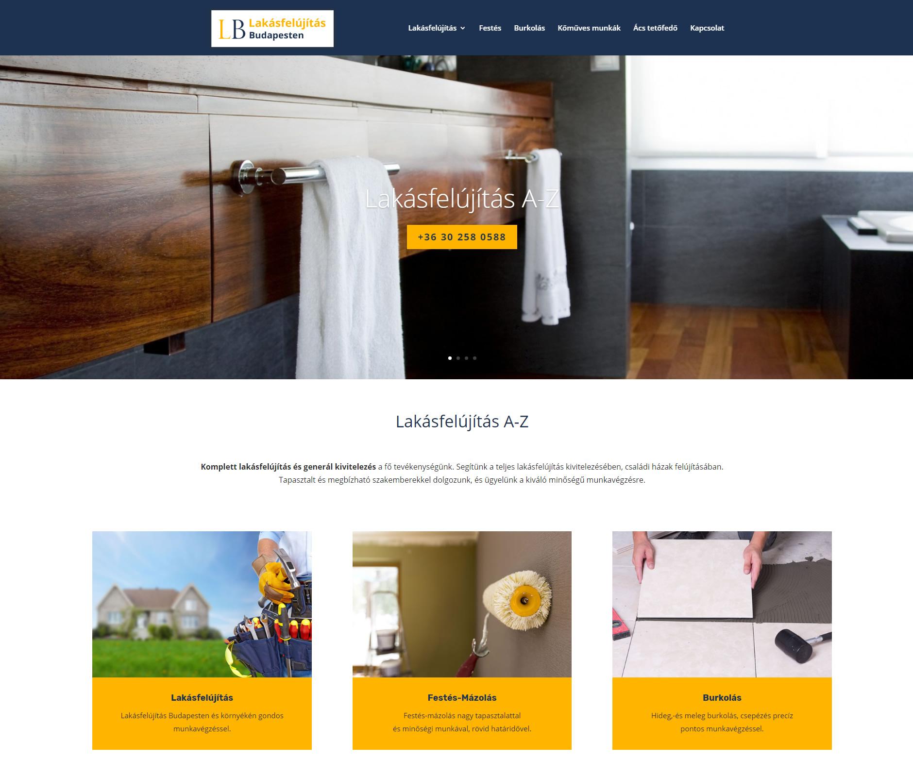 lakásfelújítás Budapest weboldala