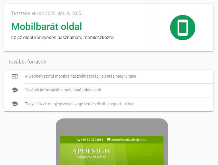 mobilbarát weboldal weblapdesign