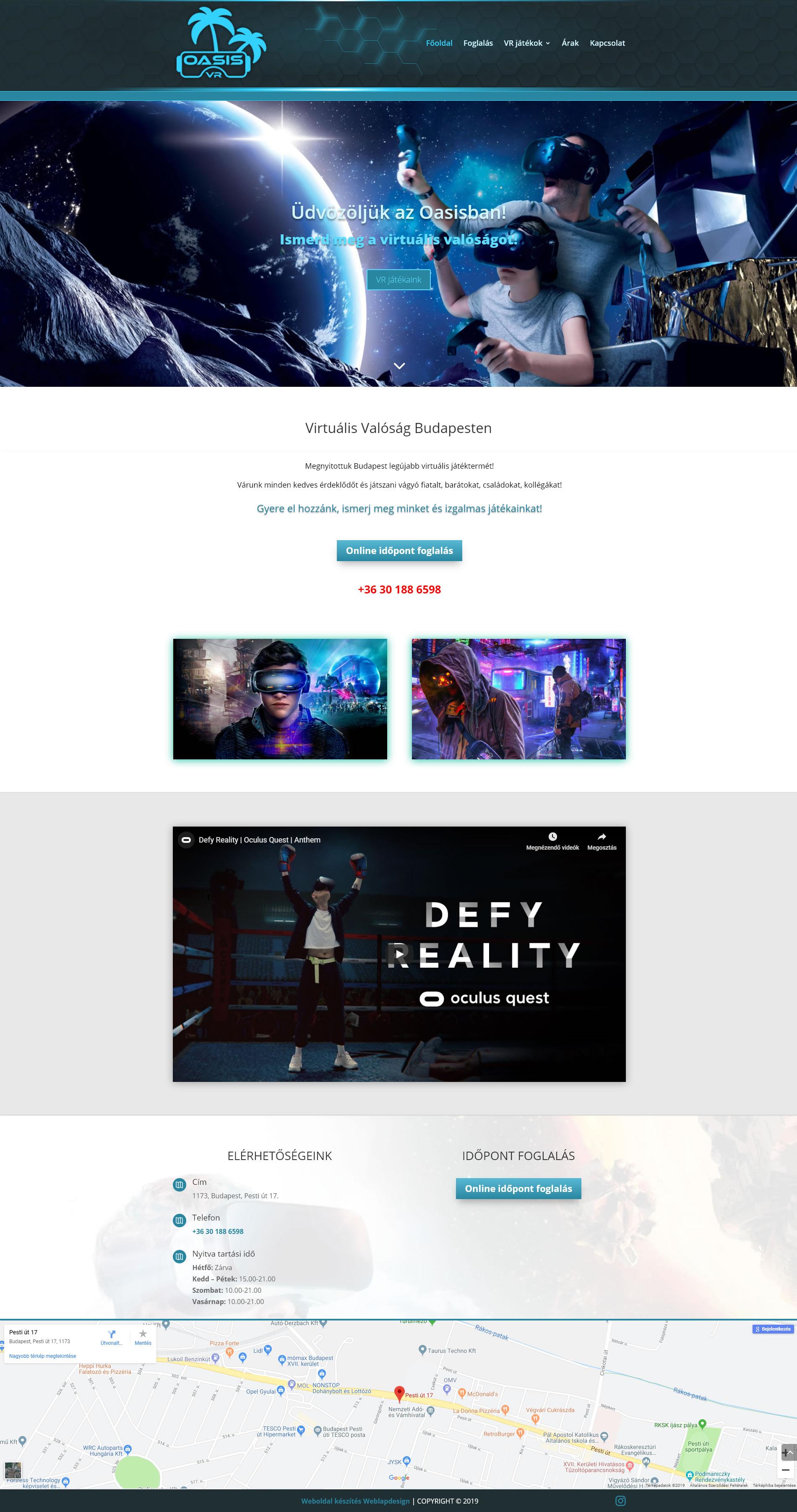 Oasis Vr Budapest WordPress weboldal készítés