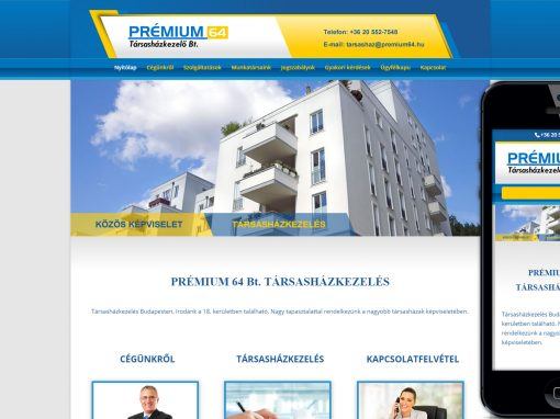 Prémium64 társasházkezlés weboldala