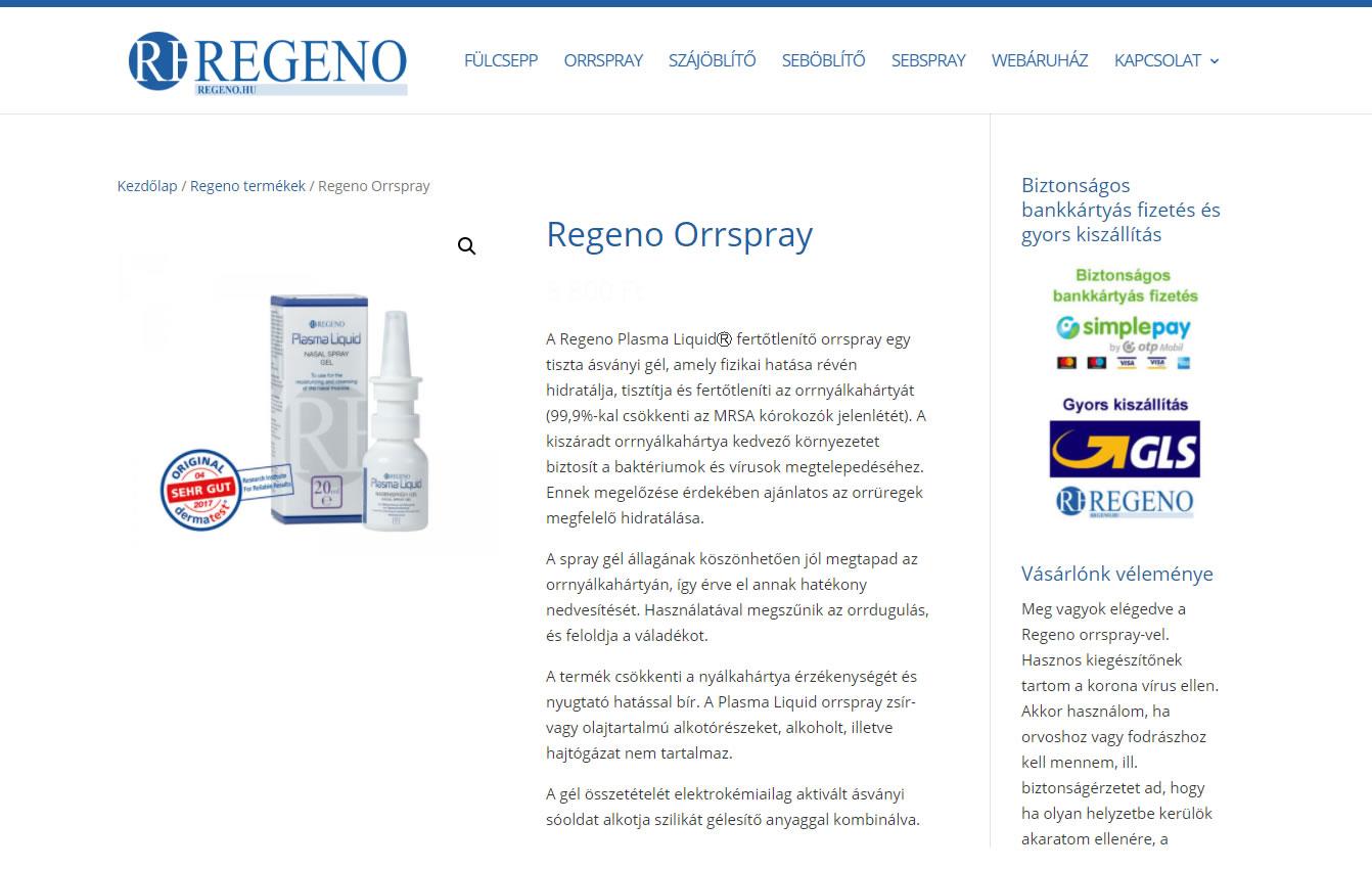 Regeno orrspray termék oldal a Google első oldalán jelenik meg