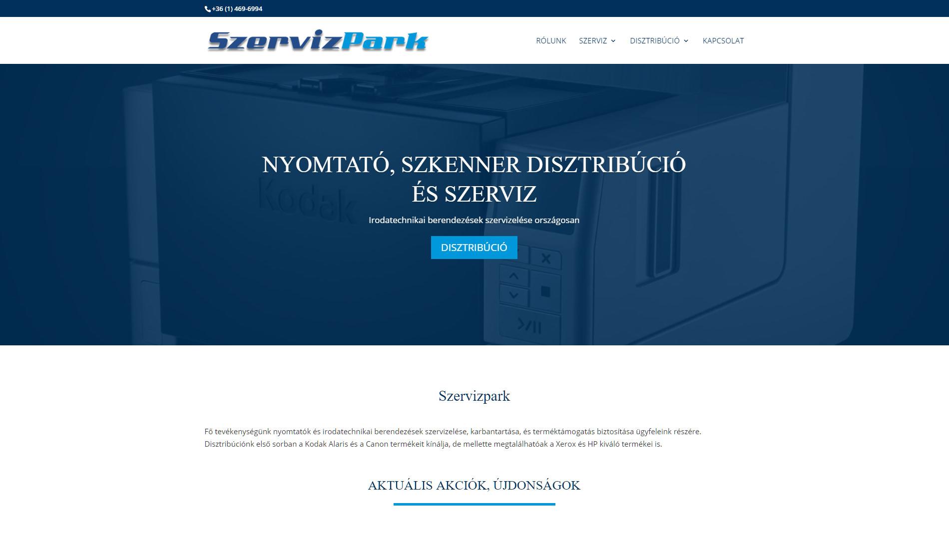 Szervizpark weboldal készítés