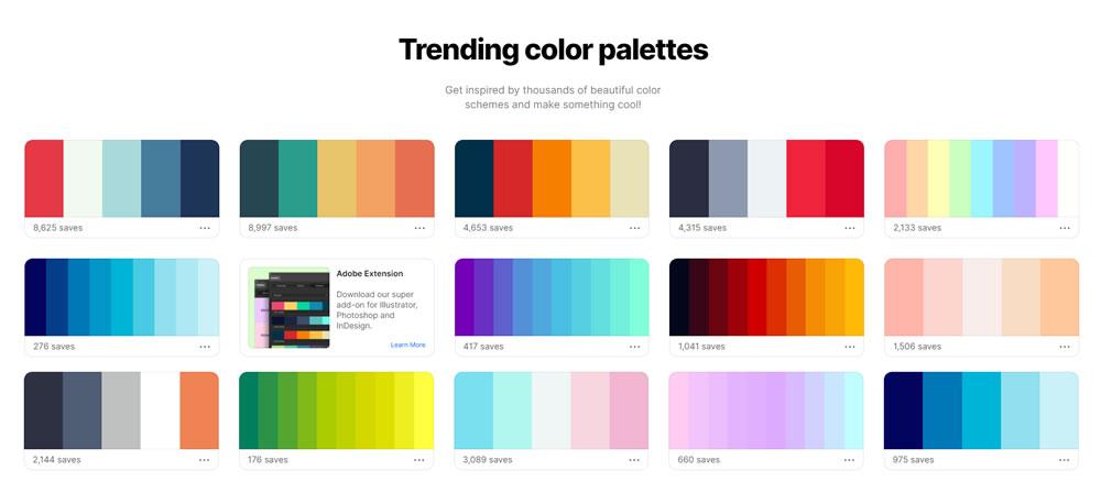 trending color palettes színösszeállítás